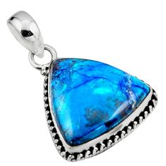 14.23cts natural blue shattuckite 925 sterling silver pendant jewelry r53856