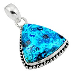 14.23cts natural blue shattuckite 925 sterling silver pendant jewelry r53857