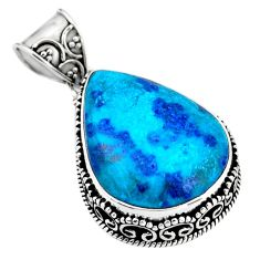 20.07cts natural blue shattuckite 925 sterling silver pendant jewelry r53862