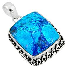 22.23cts natural blue shattuckite 925 sterling silver pendant jewelry r53863