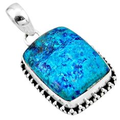 15.65cts natural blue shattuckite 925 sterling silver pendant jewelry r53865