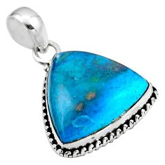 14.72cts natural blue shattuckite 925 sterling silver pendant jewelry r53866