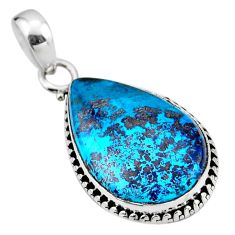 14.68cts natural blue shattuckite 925 sterling silver pendant jewelry r53872