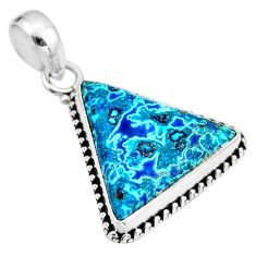 13.15cts natural blue shattuckite 925 sterling silver pendant jewelry r53873