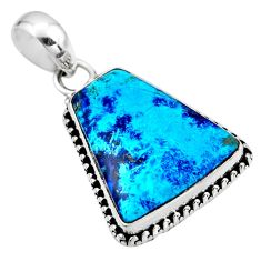 14.23cts natural blue shattuckite 925 sterling silver pendant jewelry r53876