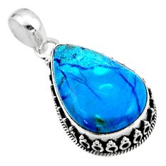17.42cts natural blue shattuckite 925 sterling silver pendant jewelry r53877