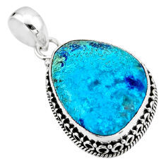 16.06cts natural blue shattuckite 925 sterling silver pendant jewelry r53879