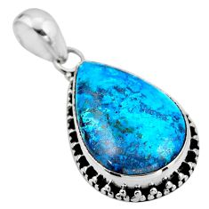 14.23cts natural blue shattuckite 925 sterling silver pendant jewelry r53901
