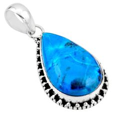 14.65cts natural blue shattuckite 925 sterling silver pendant jewelry r53902