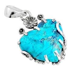 13.68cts natural blue shattuckite 925 sterling silver pendant jewelry r67586