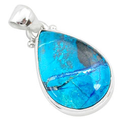 11.73cts natural blue shattuckite 925 sterling silver pendant jewelry r94921