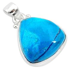 13.67cts natural blue shattuckite 925 sterling silver pendant jewelry r94922