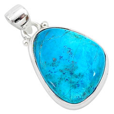 12.58cts natural blue shattuckite 925 sterling silver pendant jewelry r94923