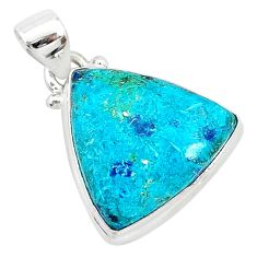 12.22cts natural blue shattuckite 925 sterling silver pendant jewelry r94933