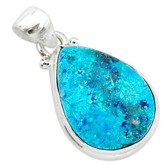 11.57cts natural blue shattuckite 925 sterling silver pendant jewelry r94935
