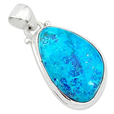 11.20cts natural blue shattuckite 925 sterling silver pendant jewelry r94942