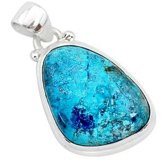 12.22cts natural blue shattuckite 925 sterling silver pendant jewelry r94946