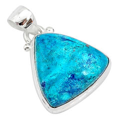 12.07cts natural blue shattuckite 925 sterling silver pendant jewelry r94948