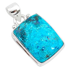 12.22cts natural blue shattuckite 925 sterling silver pendant jewelry r94949