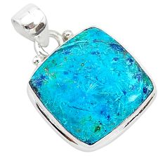 12.18cts natural blue shattuckite 925 sterling silver pendant jewelry r94951