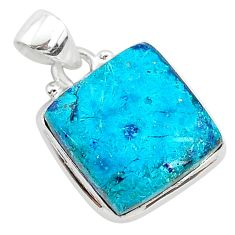 11.57cts natural blue shattuckite 925 sterling silver pendant jewelry r94953