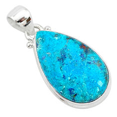 12.22cts natural blue shattuckite 925 sterling silver pendant jewelry r94957