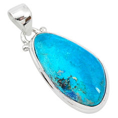 12.58cts natural blue shattuckite 925 sterling silver pendant jewelry r94958