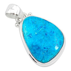 12.58cts natural blue shattuckite 925 sterling silver pendant jewelry r94960