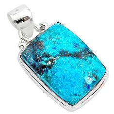 11.73cts natural blue shattuckite 925 sterling silver pendant jewelry r94961