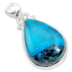 12.58cts natural blue shattuckite 925 sterling silver pendant jewelry r94970