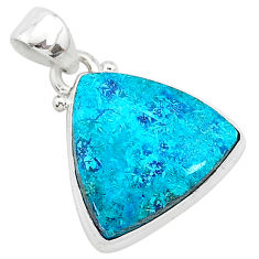 11.17cts natural blue shattuckite 925 sterling silver pendant jewelry r94973