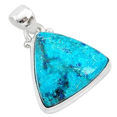 12.18cts natural blue shattuckite 925 sterling silver pendant jewelry r94976