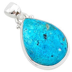 12.07cts natural blue shattuckite 925 sterling silver pendant jewelry r94987