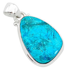 11.17cts natural blue shattuckite 925 sterling silver pendant jewelry r94990