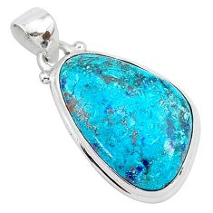 14.23cts natural blue shattuckite 925 sterling silver pendant jewelry r94991