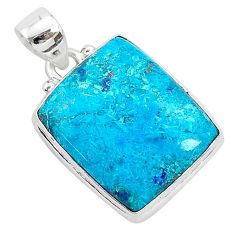 13.70cts natural blue shattuckite 925 sterling silver pendant jewelry r94997
