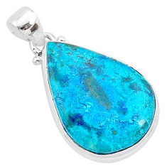 14.68cts natural blue shattuckite 925 sterling silver pendant jewelry r95022
