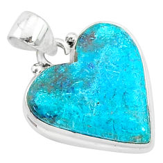 11.17cts natural blue shattuckite 925 sterling silver pendant jewelry r95023