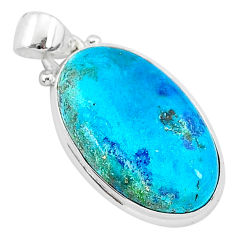 13.15cts natural blue shattuckite 925 sterling silver pendant jewelry r95025