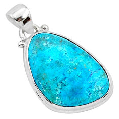 13.67cts natural blue shattuckite 925 sterling silver pendant jewelry r95029