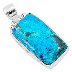 13.70cts natural blue shattuckite 925 sterling silver pendant jewelry r95030