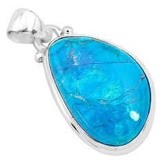 13.70cts natural blue shattuckite 925 sterling silver pendant jewelry r95034