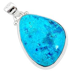 16.73cts natural blue shattuckite 925 sterling silver pendant jewelry r95044
