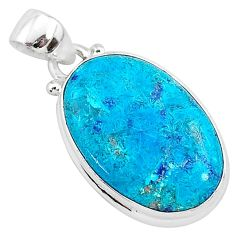 11.07cts natural blue shattuckite 925 sterling silver pendant jewelry r95047