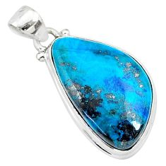 15.65cts natural blue shattuckite 925 sterling silver pendant jewelry r95059