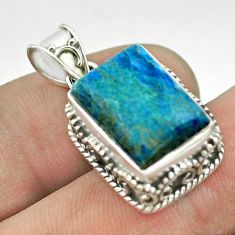 6.89cts natural blue shattuckite 925 sterling silver pendant jewelry t53128