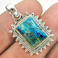 6.31cts natural blue shattuckite 925 sterling silver pendant jewelry t53148