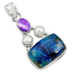 Clearance Sale- 14.21cts natural blue shattuckite amethyst pearl 925 silver pendant d43881