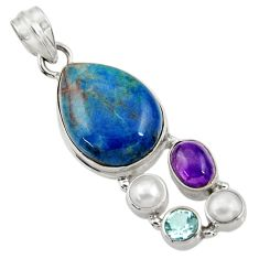 Clearance Sale- 16.70cts natural blue shattuckite amethyst pearl 925 silver pendant d43882