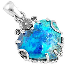 14.25cts natural blue shattuckite heart 925 sterling silver pendant r67585
